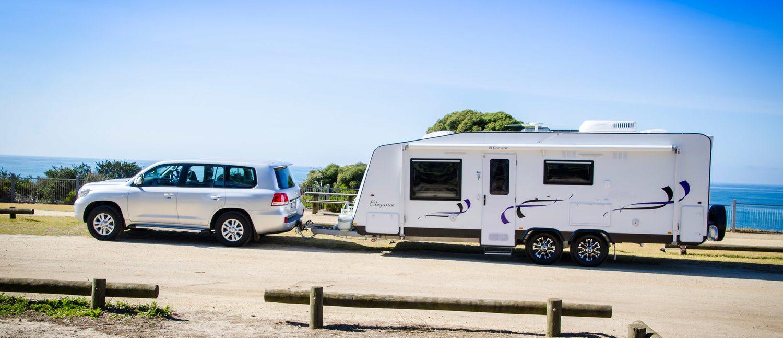 Caravan on coast road