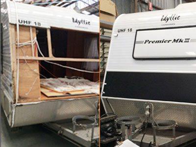 Before and after caravan repair - AllBrand Caravan