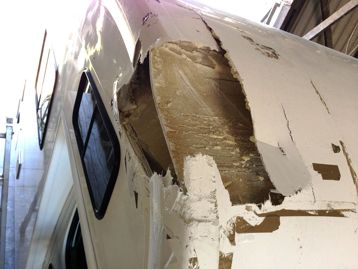 Caravan Roof Damage - Fiberglass Repair - AllBrand Caravan Services